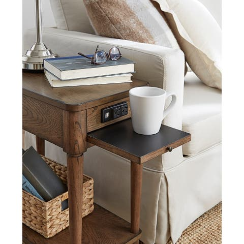 Wood Charging Chairside Table