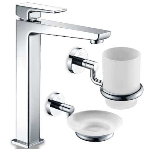 ANZZI Valor Bathroom Faucet in Polished Chrome with Soap Dish and Toothbrush Holder