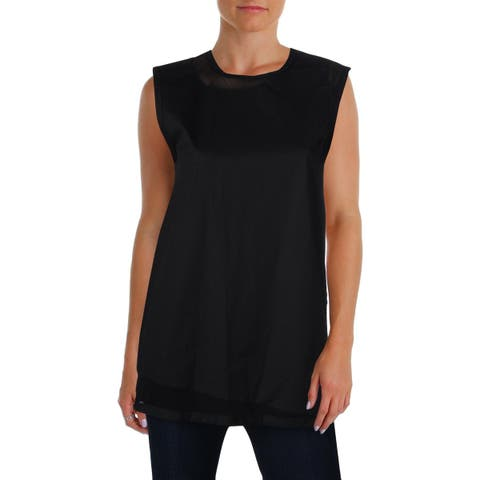 DKNY Womens Button-Down Top Mesh Inset Collarless