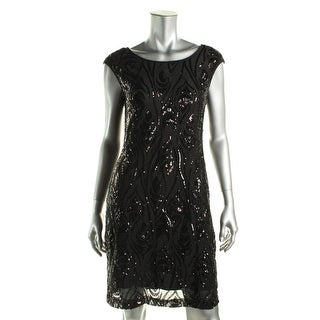 Connected Apparel Womens Petites Lined Sequined Cocktail Dress - 8P