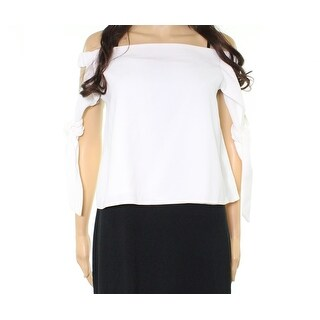 TopShop Bright White Womens 8 Layered Crepe Tie-Sleeve Blouse