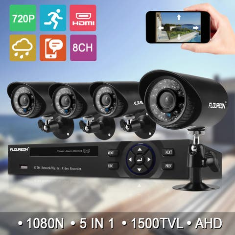 FLOUREON 1 X 8CH 1080N AHD DVR + 4 X Outdoor 1500TVL 720P Camera Security Kit