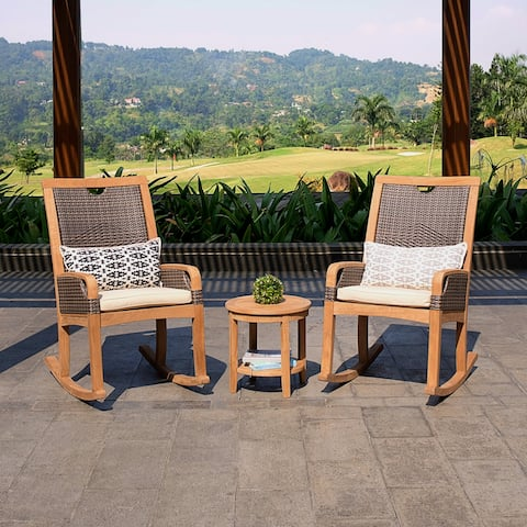 Cambridge Casual Palma 3-piece Teak Wicker Outdoor Rocking Chair Chat Set