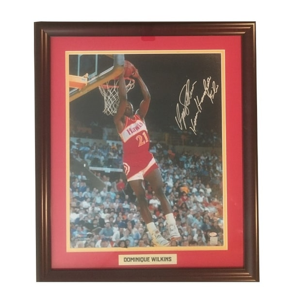 20a0dbd34f8 Dominique Wilkins Autographed Atlanta Hawks Framed 16x20 Basketball Photo  Schwartz Sports COA