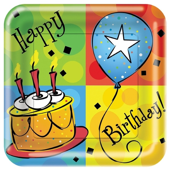 "Happy Birthday 8 Pack 9"" Square Plate - Multi"