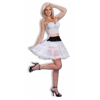 "Black W/White Mini Crinoline Tutu 16"" Petticoat Costume Adult Stnd - White"
