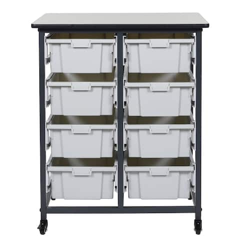 """OF-MBS-DR-8L - Offex 37.5"""" Mobile Bin Storage Unit - Double Row with 8 Large Bins"""