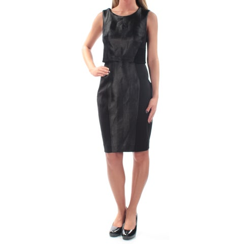 RACHEL ROY Womens Black Textured Sleeveless Jewel Neck Knee Length Pencil Cocktail Dress Size: 2