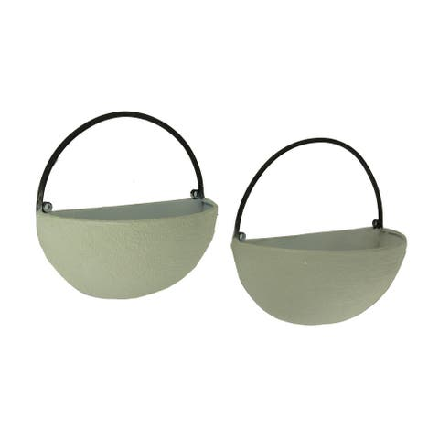 White Stone Finish Metal Half Round Wall Mounted Planters Set of 2 - 9 X 9.25 X 4.5 inches