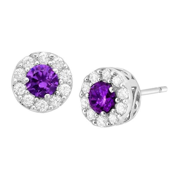 Purple & White Cubic Zirconia Halo Stud Earrings in Sterling Silver
