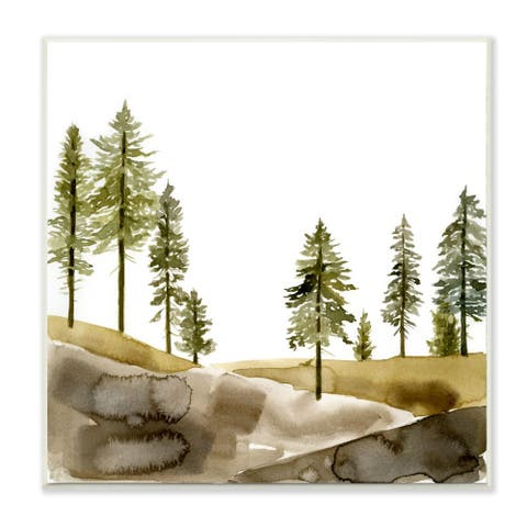 Stupell Industries Pine Tree Forest Watercolor Landscape Green Brown Wood Wall Art,12x12 - White