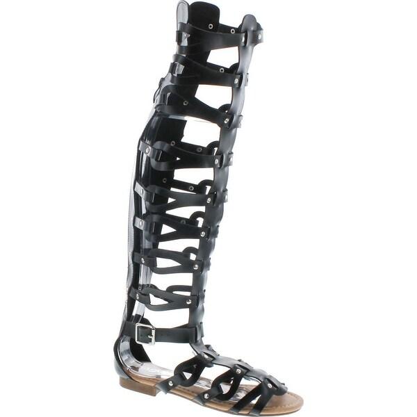 Forever Atta Alyssa 17 Womens Knee High Caged Gladiator Strappy Flat Sandals Black