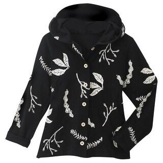 Women's Leaf Print Cotton Shirt Jacket