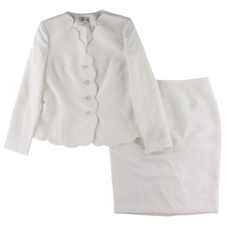 Le Suit Womens Skirt Suit Textured Scalloped - 8
