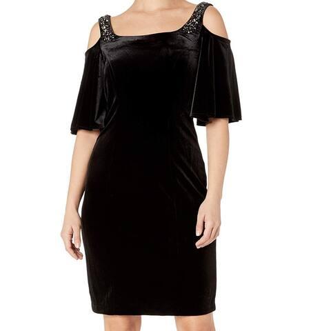 Alex Evenings Black Womens Size 12 Embellished Velvet Shift Dress
