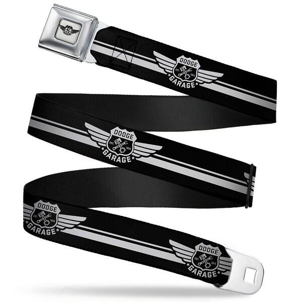 Dodge Garage Emblem Full Color Light Gray Black Dodge Garage Emblem Stripe Seatbelt Belt