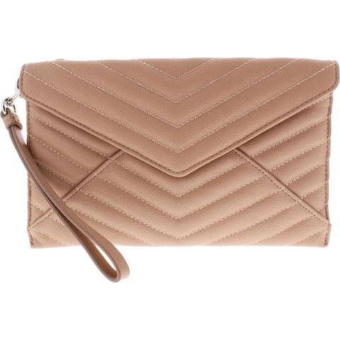 Rebecca Minkoff Womens Leo Wristlet Handbag Leather Quilted - Doe - Small