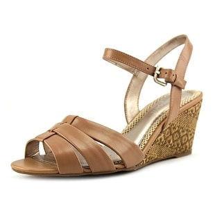 Easy Spirit Berdina Women W Open Toe Leather Nude Wedge Sandal