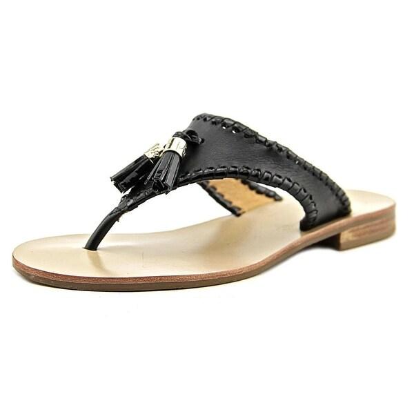 2f884944fbc Shop Jack Rogers Alana Women Open Toe Leather Black Thong Sandal ...