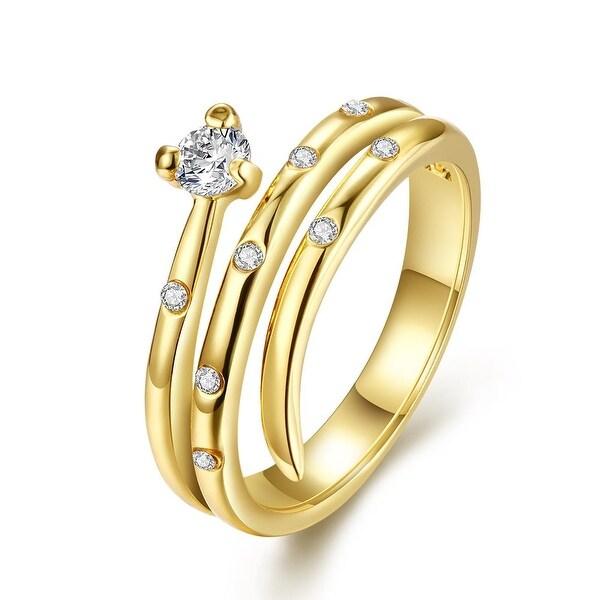 Gold Plated Circular Design Swirl Ring