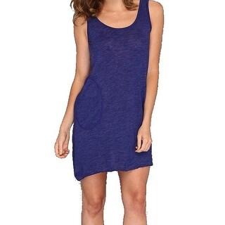 Allen Allen NEW Blue Women's Size XL Burnout Solid Shirt Dress