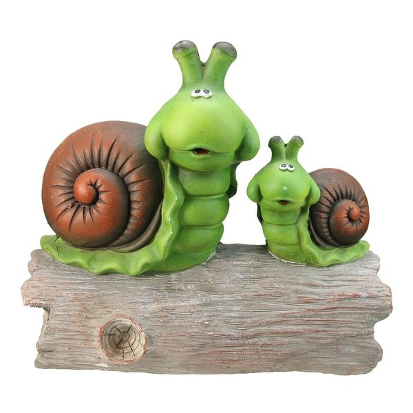 "14.5"" Green and Brown Mom with Baby Snail on a Tree Stump Outdoor Garden Statue - N/A"