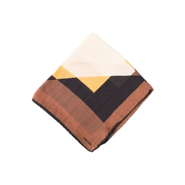 Tom Ford Men's Sand Brown Abstract Angle Pocket Square