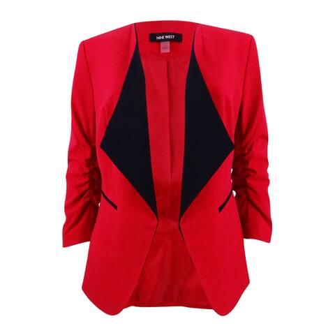 Nine West Women's Plus Size Taylor Stretch Wide-Lapel Blazer - Fire Red/Black - 20W