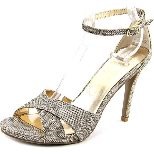 Material Girl Saracha Women Peep-Toe Canvas Gold Heels