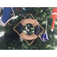 6 in. Antique Blue & White Decorative Lifering Christmas Ornament