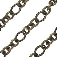 Antiqued Brass Bulk Chain, Circle Links and Connectors 10mm, Sold By The Foot