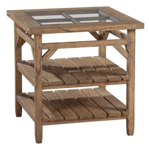 Hekman 14107 Suttons Bay 26 Inch Wide Gl Top Wood End Table With Shelves Free Shipping Today 26938186