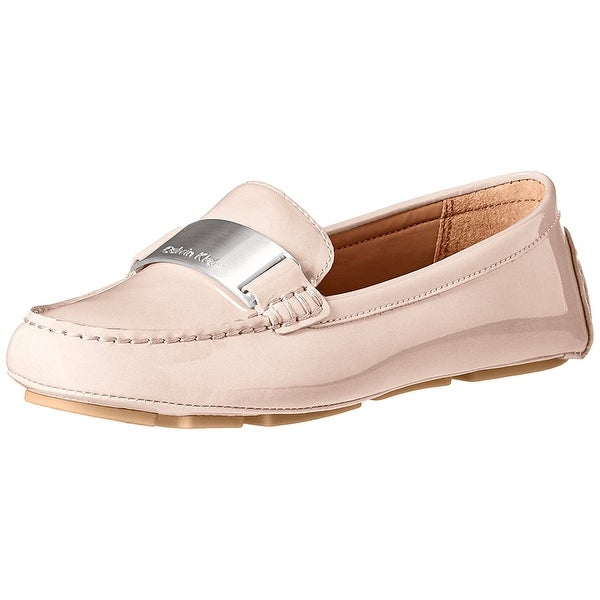 Calvin Klein Womens Lisette Leather Round Toe Loafers