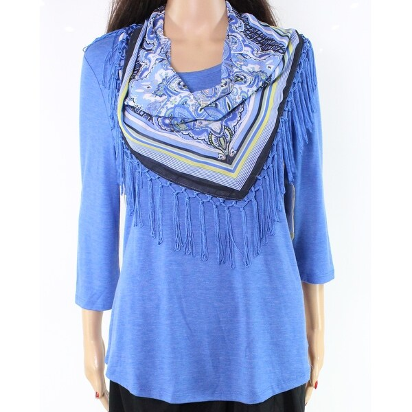 96af4a8bf1c Shop One World NEW Blue Fringe Scarf Women s Size Small S Top Blouse Set -  Free Shipping On Orders Over  45 - Overstock.com - 20090079