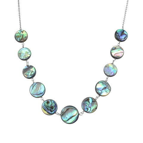 """Sterling Silver with Abalone Shell Statement Necklace- 18""""Chain + 2""""Extension"""