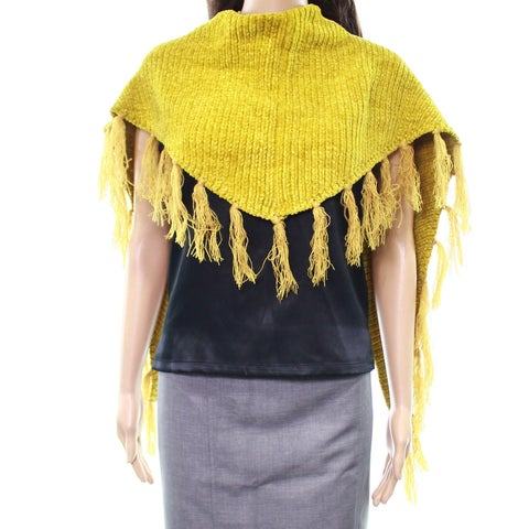 David and Young Yellow One Size Chenille Fringe-Trim Triangle Scarf