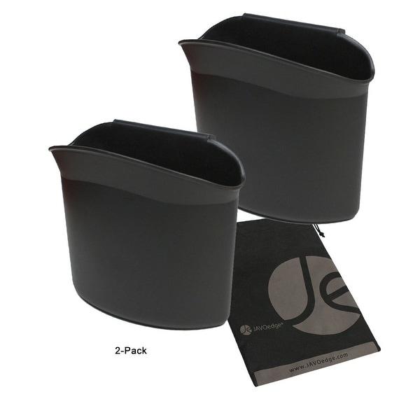 JAVOedge Black 2 Pack Car Door Clip on Bottle, Trash Holder with Bonus Drawstring Storage Bag