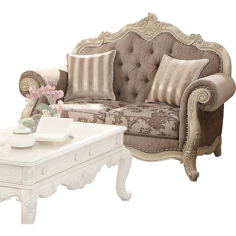Scrolled Crown Top Fabric Loveseat with Cabriole Legs, Gray and White