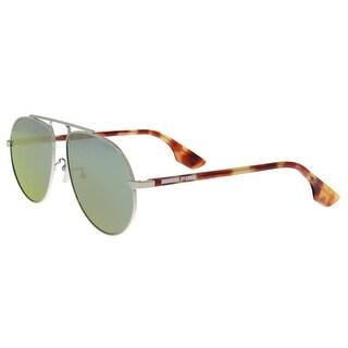 Alexander McQueen MQ0096S 003 Amber/Silver Aviator Sunglasses
