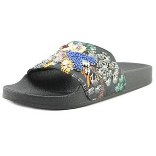 Steve Madden Sparkly Open Toe Canvas Slides Sandal