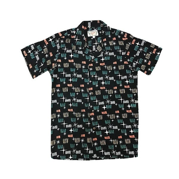 65139de4f Shop Santiki Men's Black Starlight Camp Shirt-Retro Hawaiian Mid-Century  Modern Print - On Sale - Free Shipping On Orders Over $45 - Overstock -  23051410