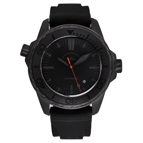 Zeno Men's 6603-BK-I17 'Divers' Black Dial Black/Red Rubber Strap Automatic Watch