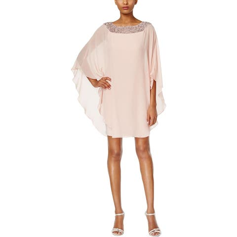 Xscape Womens Petites Cocktail Dress Cape Overlay Embellished