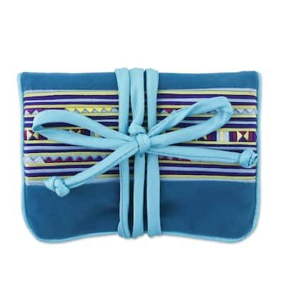"""NOVICA Handmade Lisu Sky Fantasy Applique Jewelry Roll (Thailand) - 5.5"""" H x 3.9"""" W x 0.8"""" D"""