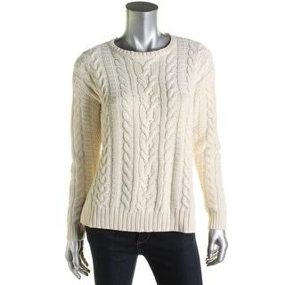 Lauren Ralph Lauren Womens Pullover Sweater Ribbed Trim Jewel Neck