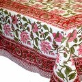 Handmade Lotus Flower Block Print 100% Cotton Tablecloth Red 60x60 Square 60x90 REctangle 72 Inch Round - 60 x 90 inches - Thumbnail 11