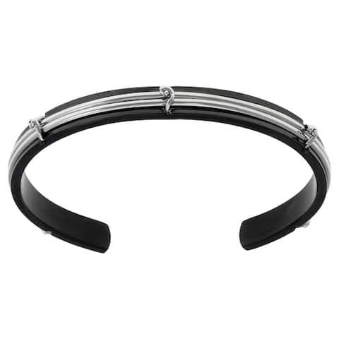 Stainless Steel Cuff Bangle Bracelet Barb Wire Design Black Ip