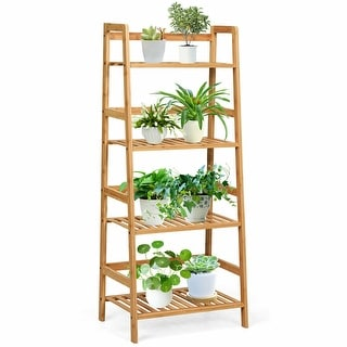Gymax 4-Tier Bamboo Ladder Shelf Multipurpose Plant Display Stand - See Details