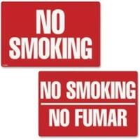 Consolidated Stamp  Two-Sided Signs, No Smoking & No Fumar - Red