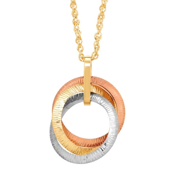 Just Gold Three-Tone Interlocking Circles Pendant in 14K Three-Tone Gold